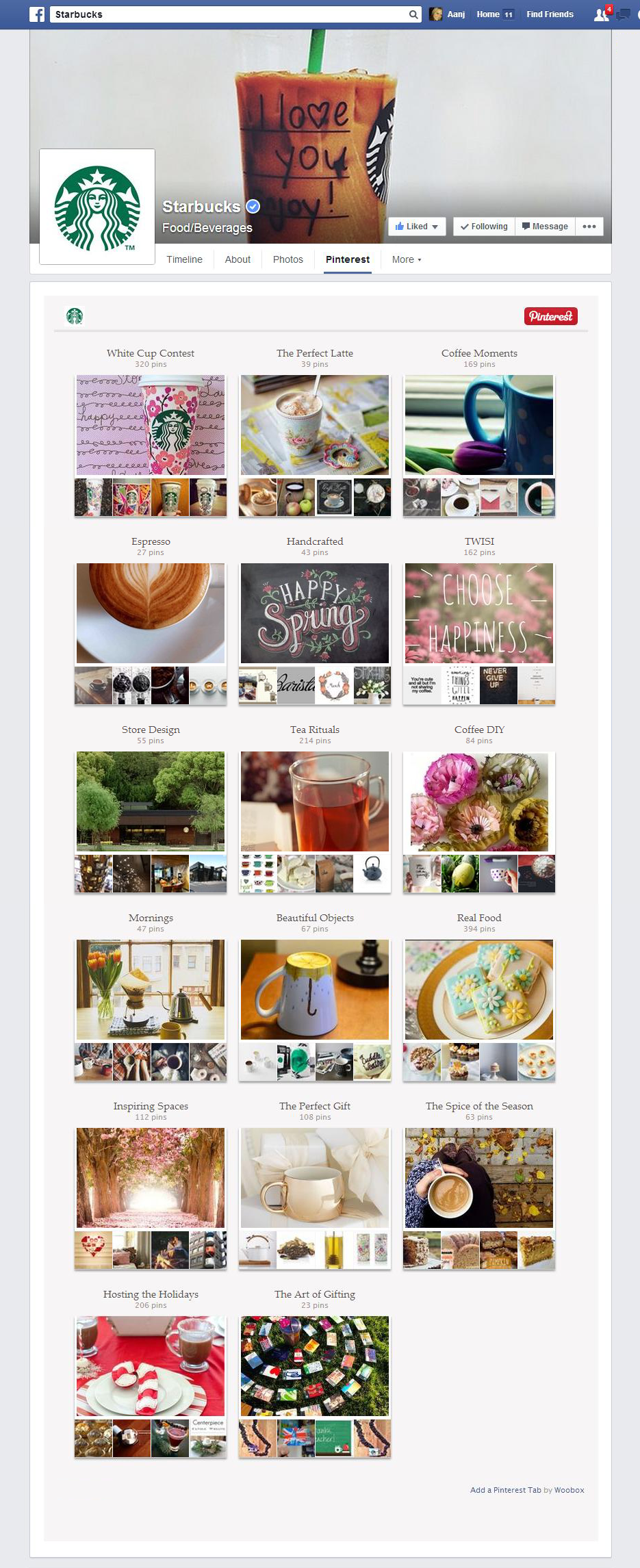 Example Pinterest User Boards